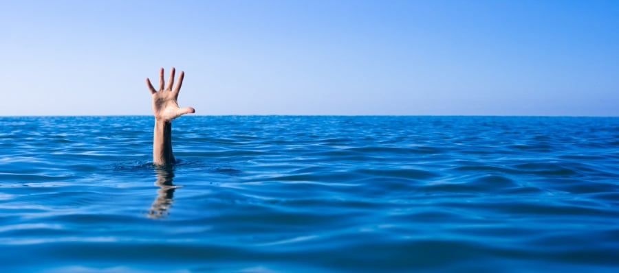 Ablutophobia the Fear of Bathing - hand sticking out of deep water