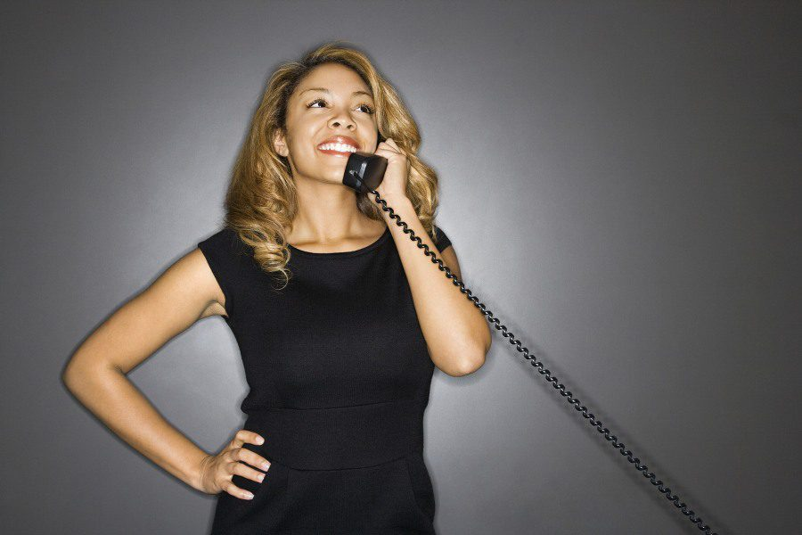 gynophobia fear of women - confident business woman on phone
