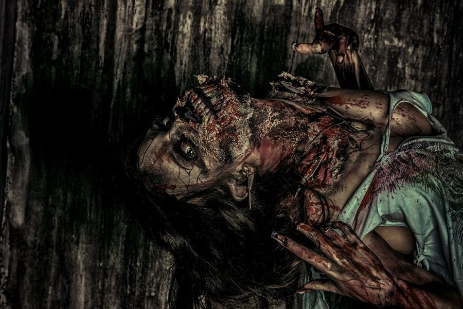 fear of contracting a disease - nosophobia - woman with putrid skin - graphic art