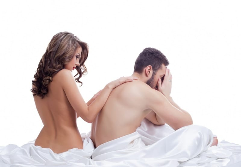 fear of sex erotophobia - woman comforting man who is afraid