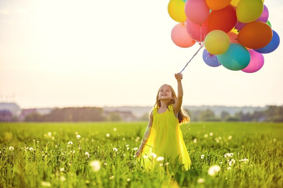 Fear of Balloons Globophobia - Young Girl with Balloons in Field