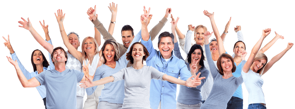happy group of people after having mental health counselling