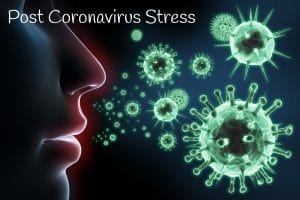 Mental health counselling for post coronavirus stress - mouth with airborne germs