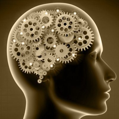 mental health counselling in wolverhampton - sepia image of cogs inside human head