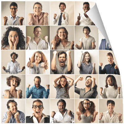 Happiness coaching - montage of happy people